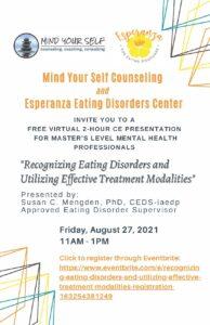 Free CE Event: Recognizing andRecognizing Eating Disorders andUtilizing Utilizing Effective Treatment Modalities
